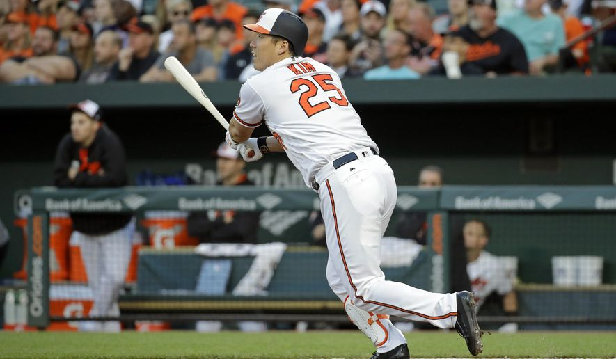 Baltimore Orioles' Hyun Soo Kim, of South Korea, watches his sacrifice fly ball in the second inning of an interleague baseball game against the Pittsburgh Pirates in Baltimore, Wednesday, June 7, 2017. Chris Davis scored on the play. (AP Photo/Patrick Semansky)