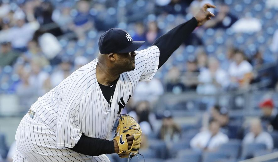 New York Yankees' CC Sabathia delivers a pitch during the first inning of the team's baseball game against the Boston Red Sox on Wednesday, June 7, 2017, in New York. (AP Photo/Frank Franklin II)