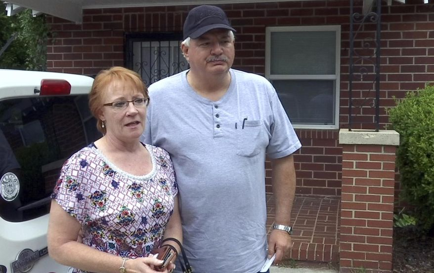 In this June 6, 2017 image made from video, Billie Winner-Davis, left, the mother of Reality Leigh Winner, and her stepfather Gary Davis, speak to media about their daughter in east Augusta, Ga. Winner remained locked up Tuesday,, June 6 on federal charges that she made copies of classified documents containing top-secret material and mailed them to an online news organization. Before she was charged with leaking U.S. government secrets, Reality Leigh Winner shared sometimes scathing opinions on President Donald Trump and his policies for the whole world to see. (AP Photo/Johnny Clark)