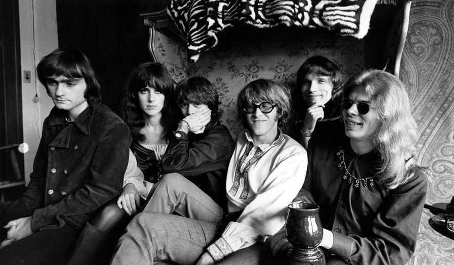 ADVANCE FOR USE TUESDAY, JUNE 13, 2017 AND THEREAFTER-FILE - In this March 8, 1968 file photo, members of the rock group Jefferson Airplane pose in San Francisco. From left are, Marty Balin, lead singer, songwriter and founder, Grace Slick, vocalist, Spencer Dryden, drummer, Paul Kantner, electric guitar and vocalist, Jorma Kaukonen, lead guitarist, vocalist and songwriter and Jack Casady, bass guitarist. The Summer of Love in 1967 marked a turning point in rock and roll history: It introduced America to the exciting new sounds coming out of San Francisco's local music scene. There was the Grateful Dead, Jefferson Airplane, Quicksilver Messenger Service, Big Brother and the Holding Company, which launched Janis Joplin's career, and Country Joe and the Fish, a psychedelic rock band. (AP Photo/File)
