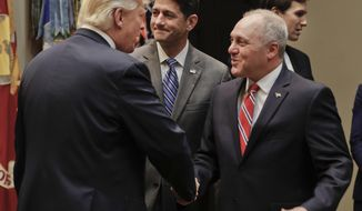 President Donald Trump, left, greets House Majority Whip Steve Scalise of La., before the start of a meeting with House and Senate Leadership in the Roosevelt Room of the White House in Washington, Tuesday, June 6, 2017. Also in the room are House Speaker Paul Ryan of Wis., center, and Senior adviser to President Donald Trump Jared Kushner, far right. (AP Photo/Pablo Martinez Monsivais)
