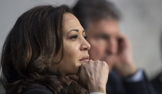 Sen. Kamala Harris, D-Calif., listens to testimony from top national security chiefs during a Senate Select Committee on Intelligence hearing on gathering intelligence on foreign agents, on Capitol Hill in Washington, Wednesday, June 7, 2017. Intelligence Committee Chairman Sen. Richard Burr, R-N.C., suspended Harris from further questioning of Deputy Attorney General Rod Rosenstein after she interrupted his answers. (AP Photo/J. Scott Applewhite)