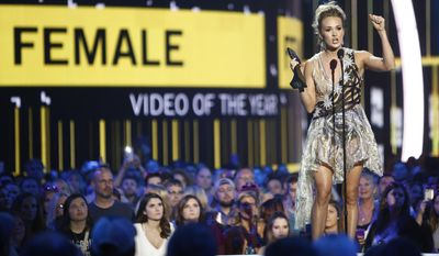 "Carrie Underwood accepts the award for female video of the year for ""Church Bells"" at the CMT Music Awards at Music City Center on Wednesday, June 7, 2017, in Nashville, Tenn. (Photo by Wade Payne/Invision/AP)"