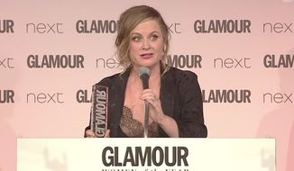 """Actress and comedian Amy Poehler mocked President Trump during her acceptance speech at Glamour UK's Women of the Year Awards, saying she's been """"rage crying"""" and eating away her sorrows since his election win. (YouTube/@Glamour Magazine UK)"""