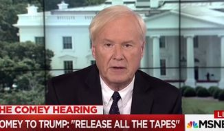 """MSNBC's Chris Matthews told colleagues on June 8, 2017, that theories of President Donald Trump's collusion with Russia throughout his 2016 campaign """"came apart"""" during former FBI Director James Comey's congressional testimony. (MSNBC screenshot) ** FILE **"""