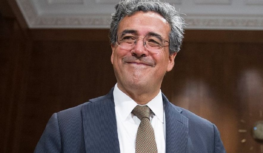 Solicitor general nominee Noel Francisco prepares to take a seat at the witness table to testify before the Senate Judiciary Committee's hearing on his nomination, on Capitol Hill in Washington, Wednesday, May 10, 2017. (AP Photo/Cliff Owen) ** FILE **