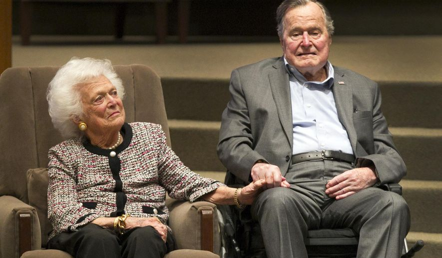 FILE- In this March 8, 2017, file photo, former President George H.W. Bush and former first lady Barbara Bush attend an awards ceremony hosted by Congregation Beth Israel after the Mensch International Foundation presented its annual Mensch Award to the former president in Houston. The former first lady Barbara Bush is celebrating her 92nd birthday on Thursday, June 8, 2017, on the Maine coast. (Steve Gonzales/Houston Chronicle via AP, File)