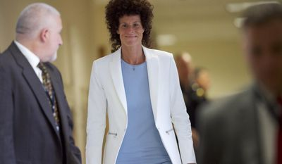 Andrea Constand arrives during Bill Cosby's sexual assault trial at the Montgomery County Courthouse in Norristown, Pa., Wednesday, June 7, 2017. Cosby is accused of drugging and sexually assaulting Constand at his home outside Philadelphia in 2004 (Mark Makela/Pool Photo via AP)