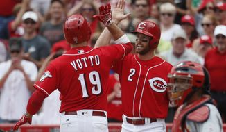 Cincinnati Reds' Joey Votto (19) celebrates with Zack Cozart (2) after hitting a two-run home run off St. Louis Cardinals relief pitcher Tyler Lyons in the sixth inning of a baseball game, Thursday, June 8, 2017, in Cincinnati. (AP Photo/John Minchillo)