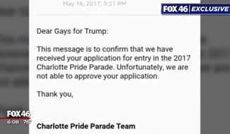 """Members of the Gays for Trump group in North Carolina are considering taking legal action after they were prohibited from participating in the upcoming """"Charlotte Pride"""" festival and parade. (FOX 46)"""