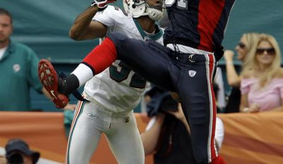 FILE- In this Oct. 26, 2008, file photo, Buffalo Bills wide receiver James Hardy, right, catches a pass as he is guarded by Miami Dolphins safety Jason Allen during the first quarter of an NFL football game in Miami. Authorities say the former NFL wide receiver has been found dead in a river in northeast Indiana. The Allen County Coroner's Office says the 31-year-old's body was identified Thursday, June 8, 2017, but that the cause and manner of death are still being investigated. His body was discovered the Wednesday in the Maumee River in Fort Wayne, Ind.(AP Photo/Lynne Sladky)