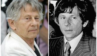 "This combination photo shows director Roman Polanski at the photo call for the film, ""Based On A True Story,"" at the 70th international film festival, Cannes, southern France, on May 27, 2017, left, and Polanski at a Santa Monica, Calif., courthouse on Aug. 8, 1977.  A lawyer for Polanski says his sex crime victim, Samantha Geimer, will appeal to a Los Angeles judge on Friday, June 9, 2017, to help make the case that Polanski has served his time for the 40-year-old crime. (AP Photo/Files)"