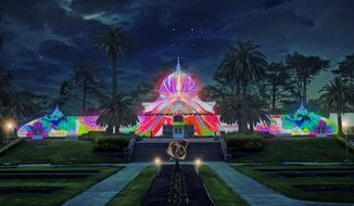 """This artist's rendering, released by the San Francisco Recreation and Parks Department, is what the Conservatory of Flowers in Golden Gate Park will look like when it is illuminated with psychedelic lighting in tribute to the 50th anniversary of the Summer of Love. The city's Recreation and Park Department announced this week it will host the """"Surrealistic Summer Solstice,"""" a four-hour jam """"featuring over 40 legendary musicians"""" on June 21, 2017, followed by a lighting of the Victorian-era glass greenhouse that will remain through October. (San Francisco Recreation and Parks Department via AP)"""