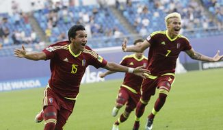 Venezuela's Samuel Sosa, left, celebrates after scoring a goal against Uruguay during a semi-final match in the FIFA U-20 World Cup Korea 2017 at Daejeon World Cup Stadium in Daejeon, South Korea, Thursday, June 8, 2017. (AP Photo/Ahn Young-joon)