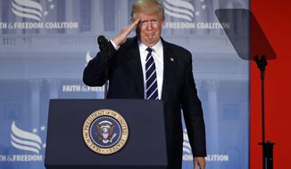 President Donald Trump salutes as he speaks at the Faith and Freedom Coalition's Road To Majority conference in Washington, Thursday, June 8, 2017. (AP Photo/Patrick Semansky)