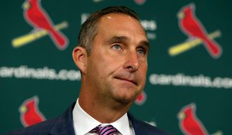 St. Louis Cardinals General Manager John Mozeliak announces player moves and the reassignment of coaches during a press conference at Busch Stadium on Friday, June, 9, 2017. (David Carson/St. Louis Post-Dispatch via AP)