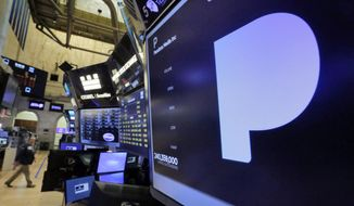 The Pandora Media name appears above a trading post on the floor of the New York Stock Exchange, Friday, June 9, 2017. (AP Photo/Richard Drew)