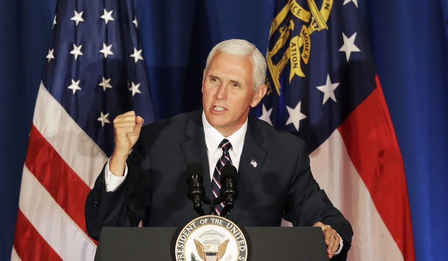 Vice President Mike Pence speaks at a campaign fundraiser for Republican candidate for 6th Congressional District Karen Handel at the Cobb Energy Performing Arts Centre in Atlanta, Friday, June 9, 2017. (AP Photo/David Goldman) ** FILE **