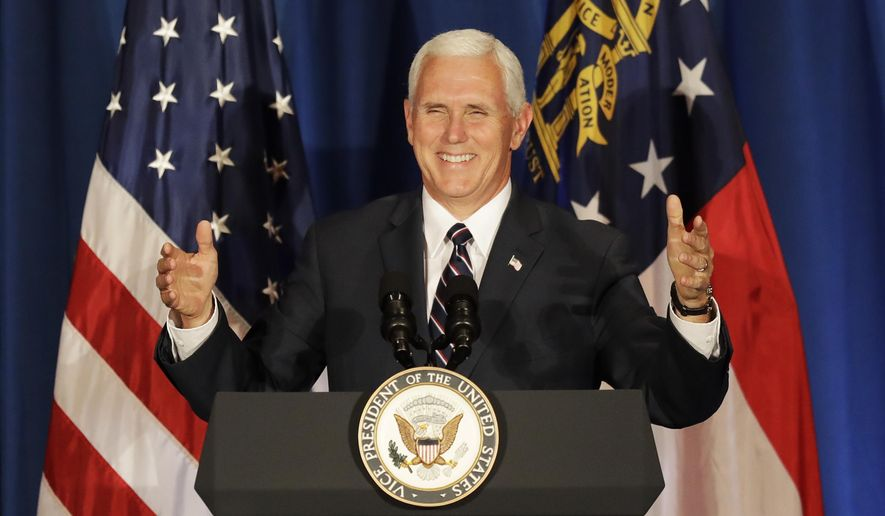Vice President Mike Pence speaks at a campaign fundraiser for Republican candidate for 6th congressional district Karen Handel at the Cobb Energy Performing Arts Centre in Atlanta, Friday, June 9, 2017. (AP Photo/David Goldman)