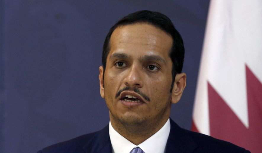 Qatari Foreign Minister Sheik Mohammed bin Abdulrahman bin Jassim Al-Thani speaks during a press conference after talks with his Serbian counterpart Ivica Dacic, in Belgrade, Serbia, in this Monday, Jan. 30, 2017, file photo. (AP Photo/Darko Vojinovic, File)