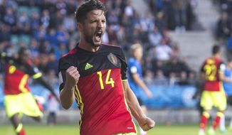 Belgium's Dries Mertens celebrates after scoring a goal during the World Cup Group H qualifying match between Estonia and Belgium at the A. Le Coq Arena in Tallinn, Estonia, Friday, June 9, 2017. (AP Photo/Marko Mumm)