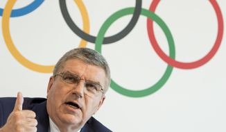 International Olympic Committee, IOC, President Thomas Bach from Germany, speaks during a press conference after an executive board meeting, at the Olympic Museum, in Lausanne, Switzerland, Friday, June 9, 2017.  (Jean-Christophe Bott/Keystone via AP)
