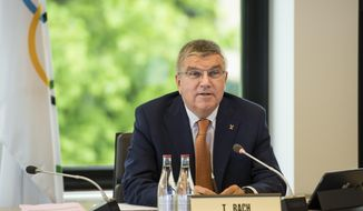 International Olympic Committee, IOC, President Thomas Bach from Germany attends the executive board meeting at the IOC headquarters, in Pully near Lausanne, Switzerland, Friday, June 9, 2017. (Jean-Christophe Bott/Keystone via AP)
