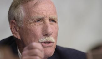 Sen. Angus King, I-Maine, asks a question during a Senate Intelligence Committee hearing about the Foreign Intelligence Surveillance Act, on Capitol Hill in Washington, Wednesday, June 7, 2017. (AP Photo/Susan Walsh)