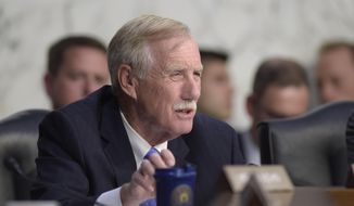 Sen. Angus King, I-Maine, asks a question during a Senate Intelligence Committee hearing about the Foreign Intelligence Surveillance Act, on Capitol Hill in Washington, Wednesday, June 7, 2017. (AP Photo/Susan Walsh) ** FILE **