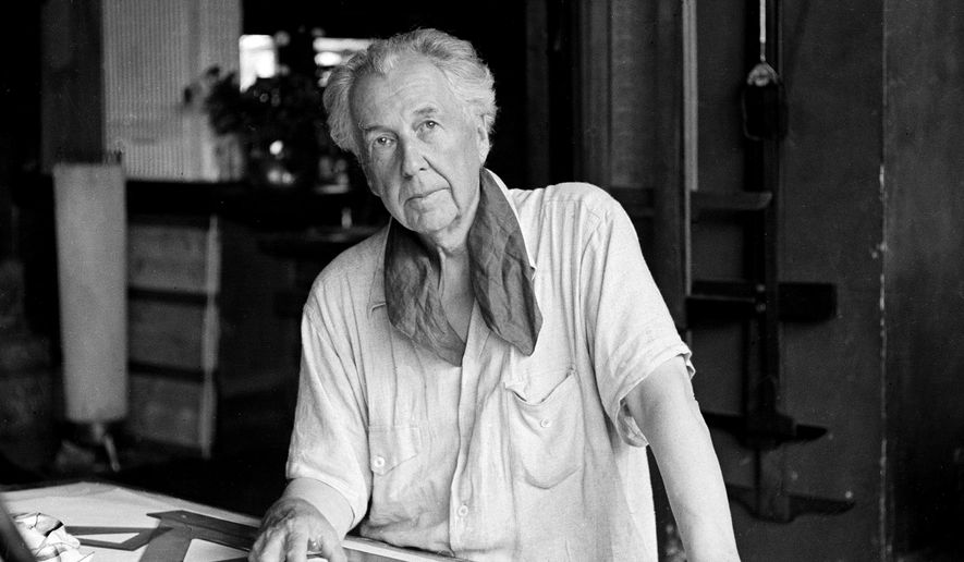 This Aug. 16, 1938 photo shows architect Frank Lloyd Wright in his studio at his home, Talisien, in Spring Green, Wis. This year marks the 150th anniversary of Wright's birth. (AP Photo)