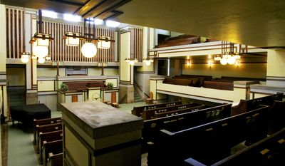 This Sept. 27, 2005 file photo shows the interior of Frank Lloyd Wright's Unity Temple in Oak Park, Ill.  (AP Photo/Charles Rex Arbogast)