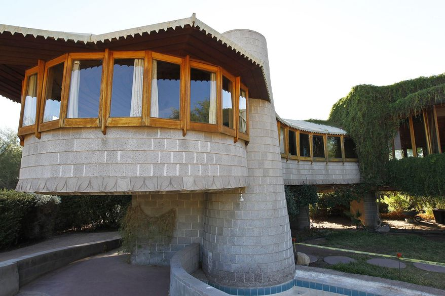 This Oct. 19 2012 photo shows a home that architect Frank Lloyd Wright designed for his son in Phoenix, Ariz. (AP Photo/Ross D. Franklin)
