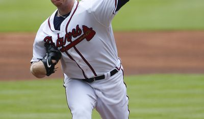 Atlanta Braves starting pitcher Sean Newcomb works in the first inning of a baseball game against the New York Mets Saturday, June 10, 2017, in Atlanta. Newcomb was making his Major League debut. (AP Photo/John Bazemore)
