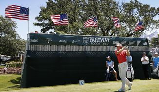 Bernhard Langer watches his shot off the fourth tee during the second round of the PGA Tour Champions Principal Charity Classic golf tournament, Saturday, June 10, 2017, in Des Moines, Iowa. (AP Photo/Charlie Neibergall)