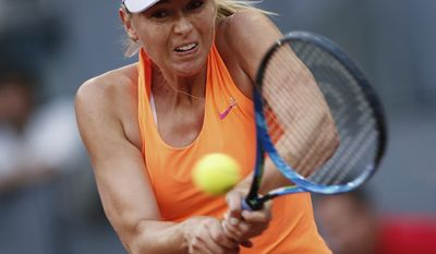FILE - In this May 8, 2017, file photo, Maria Sharapova hits a return to Eugenie Bouchard, of Canada, during a Madrid Open tennis tournament match in Madrid, Spain. Sharapova has pulled out of Wimbledon qualifying because of an injured left thigh. Sharapova said Saturday, June 10, that the muscle tear she got at the Italian Open last month will not allow her to compete at grass-court tournaments she was scheduled to play. (AP Photo/Francisco Seco, File)