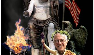 Illustration on Bernie Sanders' as a priest of the god of government by Alexander Hunter/The Washington Times