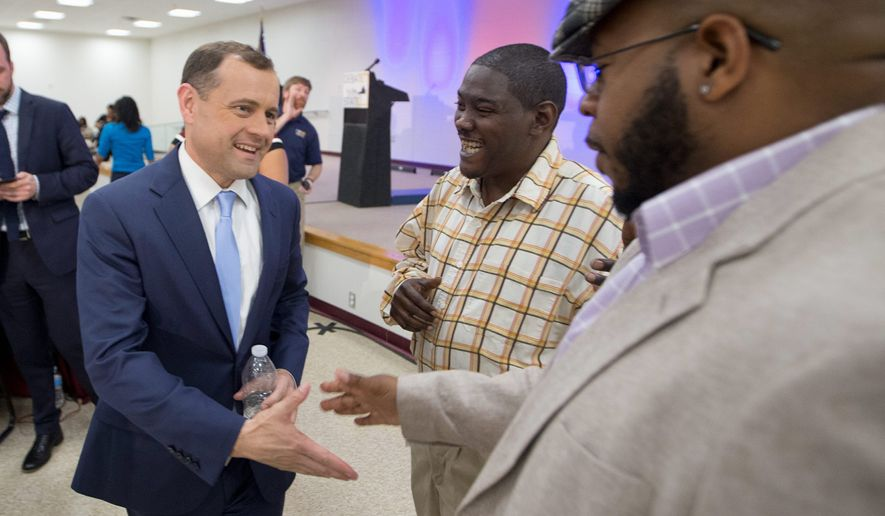 Democratic gubernatorial candidate Tom Perriello greeted supporters during a 24-hour campaign blitz this weekend while his primary rival, Ralph Northam, brought out big names in Virginia politics. Many are undecided how they will vote on Tuesday. (Associated Press)