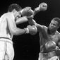 World Boxing Council champion Larry Holmes, right, delivers a flurry of blows to challenger Gerry Cooney during the 13th and final round of their championship fight,  June, 12, 1982 at Caesars Palace in Las Vegas. Holmes won the fight and retained his crown with a 13th round knockout. It was 25 years ago on a blisteringly hot night in Las Vegas, and Holmes was defending his heavyweight title against the big-punching Cooney in the richest fight of its time.  (AP Photo/file)