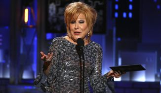 Bette Midler presents the award for best performance by an actress in a leading role in a play at the 71st annual Tony Awards on Sunday, June 11, 2017, in New York. (Photo by Michael Zorn/Invision/AP)  ** FILE **