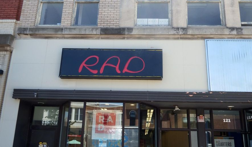 ADVANCE FOR SUNDAY JUNE 11 AND THEREAFTER - A June 1, 2017 photoA June 1, 2017 photo shows RADInc. at 123 E. Washington St. in Iowa City, Iowa. RADInc., in its role of a retail incubator, sells items made by local artisans and businesses who cannot afford a storefront in downtown Iowa City or make enough money with traditional consignment deals, said Simeon Talley, one of the businesses founders.   (Zach Berg/Iowa City Press-Citizen via AP)