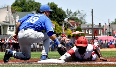 Kentucky infielder Evan White (19) attempts to tag Louisville's outfielder Josh Stowers (25) as he dives back to first base during the second inning of anNCAA college baseball super regionals, Friday, Jun. 9, 2017, at Jim Patterson Stadium in Louisville, Ky. (AP Photo/Timothy D. Easley)
