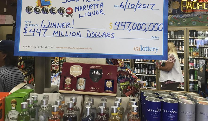 This photo provided by Fadi Alberre shows the Marietta Liquors & Deli in Menifee, Calif., Sunday, June 11, 2017. A sole winning Powerball ticket worth $447.8 million and matching all six numbers was sold at the store in Southern California and will claim the 10th largest lottery prize in U.S. history, lottery officials said Sunday. (Fadi Alberre via AP)