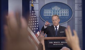 White House press secretary Sean Spicer speaks during the daily briefing at the White House in Washington, Monday, June 12, 2017. (AP Photo/Susan Walsh)