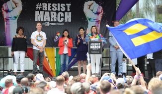 IMAGE DISTRIBUTED FOR HUMAN RIGHTS CAMPAIGN - Resist March 2017 took place on Sunday, June 11, 2017, in Los Angeles. (Carlos Delgado/AP Images for Human Rights Campaign)