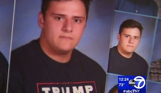 A teacher at Wall Township High School in New Jersey has been suspended after pro-President Trump messages were Photoshopped and edited out of the school's official yearbook. (ABC 7)