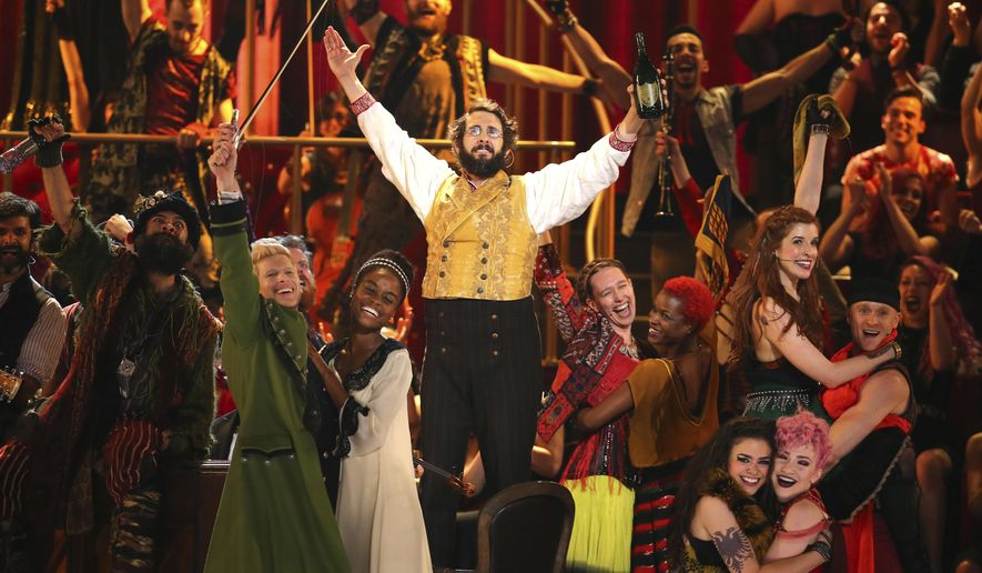"Josh Groban and the cast of ""Natasha, Pierre and the Great Comet of 1812"" perform at the 71st annual Tony Awards on Sunday, June 11, 2017, in New York. (Photo by Michael Zorn/Invision/AP)"