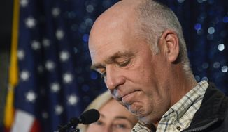 FILE - In this May 25, 2017, file photo, Republican Greg Gianforte speaks to supporters after winning Montana's open congressional seat, defeating Democrat Rob Quist, in Bozeman, Mont. Gianforte pleaded guilty on Monday, June 12, 2017, to assaulting a reporter the day before the election. (Rachel Leathe/Bozeman Daily Chronicle via AP, File)
