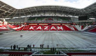 FILE - In this Tuesday, Feb 28, 2017 filer, an inside view of the Kazan Arena stadium in Kazan, Russia. (AP Photo/Nikolai Alexandrov, File )