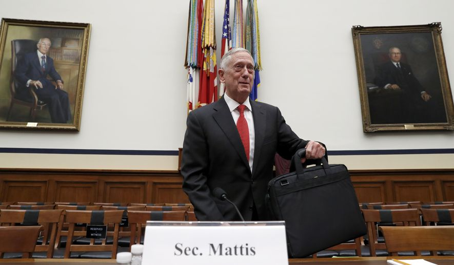 Defense Secretary Jim Mattis sets his briefcase down before he testifies at a House Armed Services Committee hearing on the defense budget for the 2018 budget year, on Capitol Hill, Monday, June 12, 2017, in Washington. (AP Photo/Alex Brandon)
