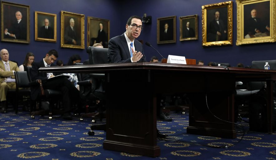 Treasury Secretary Steve Mnuchin testifies at a House Appropriations subcommittee hearing on the budget, on Capitol Hill, Monday, June 12, 2017, in Washington. (AP Photo/Alex Brandon)
